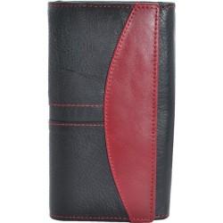Portofel dama, negru rosu, piele naturala, 18 x 9,5 cm, L240