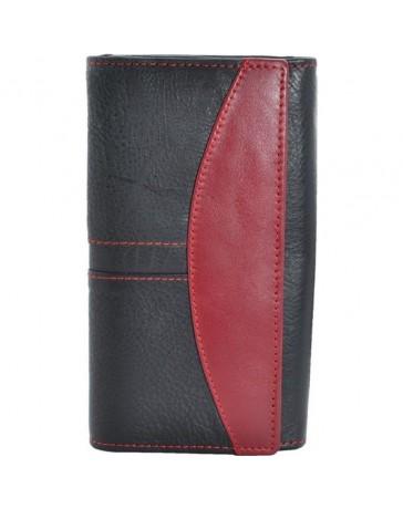 Portofel dama, negru rosu, piele naturala, 18 x 9,5 cm, L238