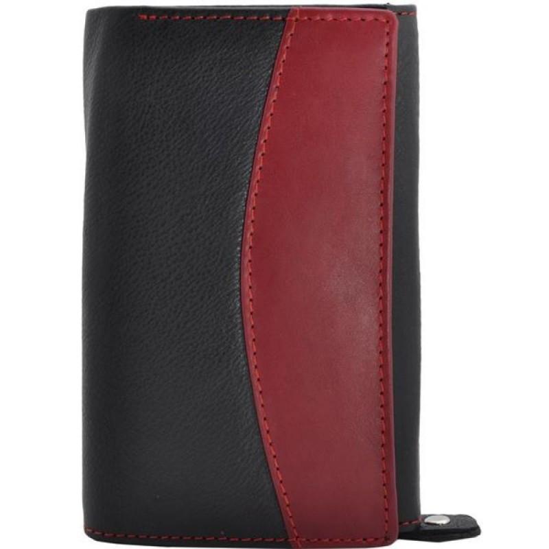 Portofel dama, negru rosu, piele naturala, 15 x 10 cm, L250