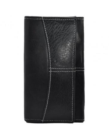 Portofel dama, negru, piele naturala, 18 x 9,5 cm, L238N