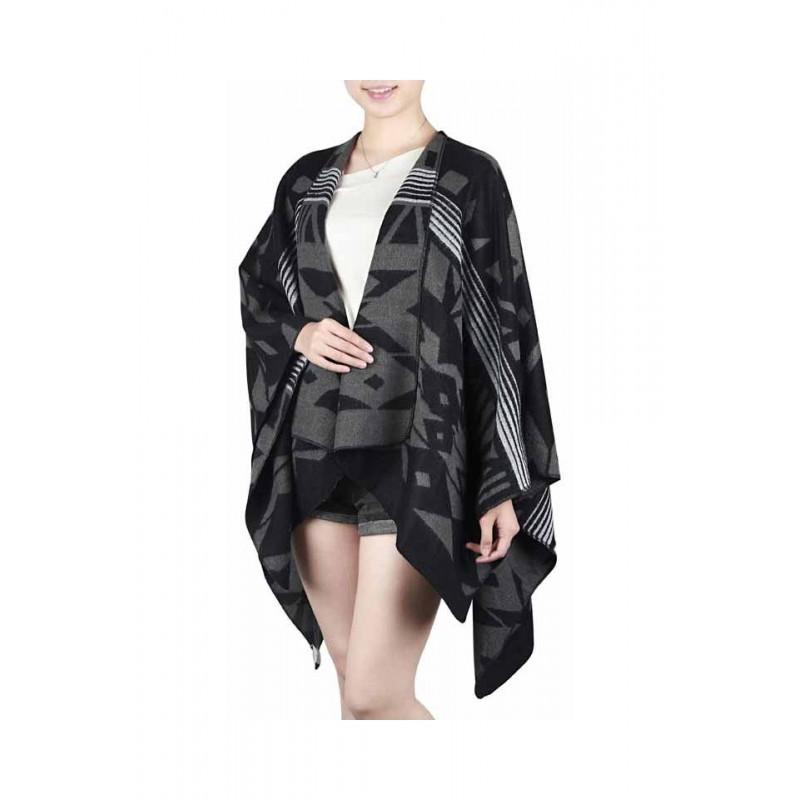 Poncho femei, model geometric, negru, gri, 130 x 137 cm, P111-01