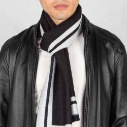 Esarfa barbati, negru gri, vascoza, 33 x 180 cm, E105-01