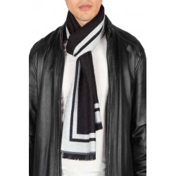 Esarfa barbati, negru alb, vascoza, 33 x 180 cm, E105-02 - Esarfe barbati